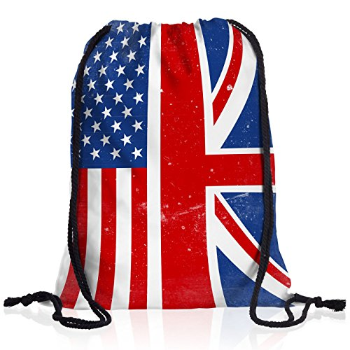 style3 USA Amerika Union Jack England Rucksack Tasche Turnbeutel Sport Jute Beutel