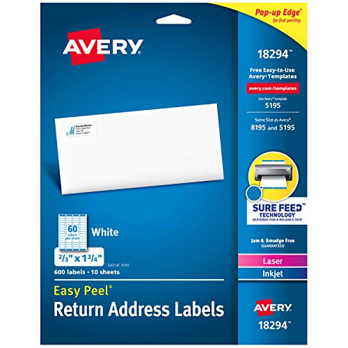 "Avery Return Address Labels with Sure Feed for Laser & Inkjet Printers, 2/3"" x 1-3/4"", 600 Labels, Permanent Adhesive (18294),White"