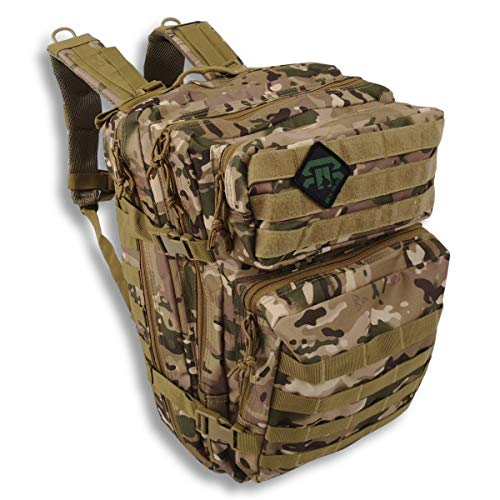 REX RAW ® - Mochila táctica militar - Gran capacidad expandible 40L + Molle - para acampar, cazar, Airsoft, Paintball, Urbex, Trekking, Senderismo, Supervivencia, Viaje, bolsa para PC (desierto)