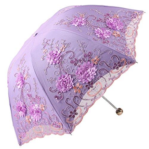 Honeystore 日傘 折りたたみ 完全遮光 uvカット率100% レース 刺繍 立体的な花柄