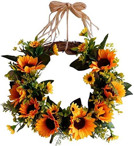 GYC Fall Wreath Autumn Theme Door Window Wreath, Artificial Sunflower Garland Handmade Christmas Pendant, Plastic Rattan Material Home Decoration Supplies for New Year Decoration