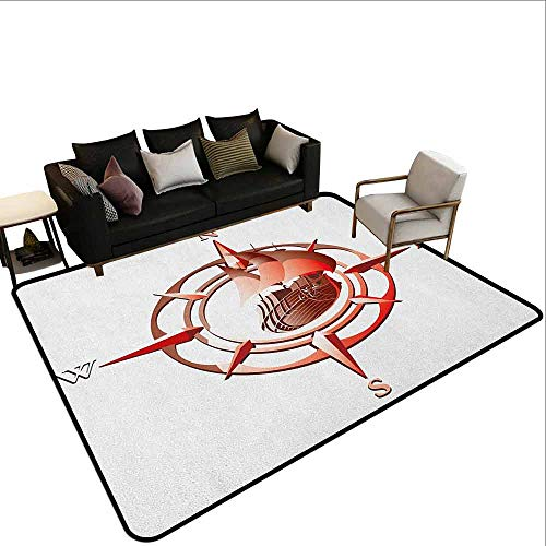 MsShe Transparant gedrukte deurmat Compass,Monochroom Diagonaal Touw Patroon Lattice Ontwerp met Windrose en Ankers Print, Zwart Wit