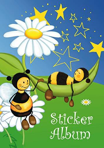 HERMA 15420 Stickeralbum Bienen Wiese DIN A5 leer (16 Seiten, beschichtetes Spezialpapier) Sticker Sammelalbum zum sammeln, 1 Stickerbuch für Kinder, blanko