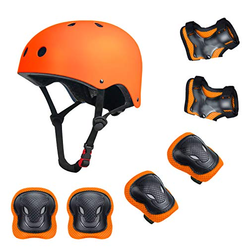 YUFU Kids Helmet Sports Protective Gear Set for 3-13 Years Children Boys Girls Bike Skateboard Adjustable Helmet Knee Elbow Wrist Pads for Cycling Skating Roller Scooter Bicycle, Pack of 7 Orange S