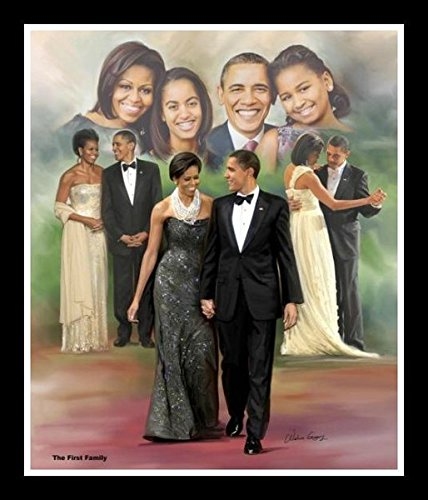 Wishum Gregory The First Family: President Barack Obama and Michelle Obama, 11x8.5 Inches, Black Frame