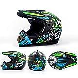 Casco Motocross Bambino per Adulti,ATV Motocross Dirt Bike Moto MX BMX Casco off-Road,Approvato DOT,Verde,XL:59~60cm/23~23.6in
