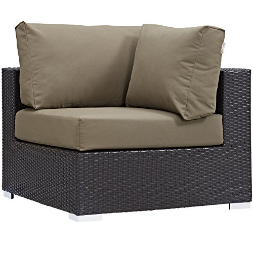 Modway Convene Wicker Rattan Outdoor Patio Sectional Sofa Corner Seat in Espresso Mocha