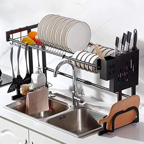 Retráctil fregadero de acero inoxidable estante estante para platos, robusto Estante de almacenamiento, Vajilla rack capacidad para encimera de la cocina. 65~93CM Upgrade