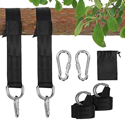 Colisal Schaukel Befestigung Set 1,5 m Aufhängung Haken Nylon Hanging Gurt mit 2 Karabinern für Schaukel Hängematten Schwarz