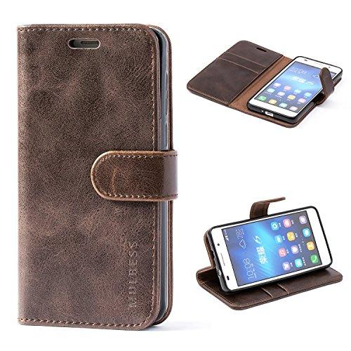 Mulbess Handyhülle für Huawei Honor 6 Hülle Leder, Honor 6 Handy Hüllen, Vintage Flip Handytasche Schutzhülle für Huawei Honor 6 Case, Kaffee Braun