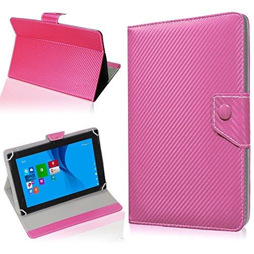 NAUC Tablet Hülle für TrekStor SurfTab Twin 10.1 Tasche Schutzhülle Cover Hülle Carbon, Farben:Pink