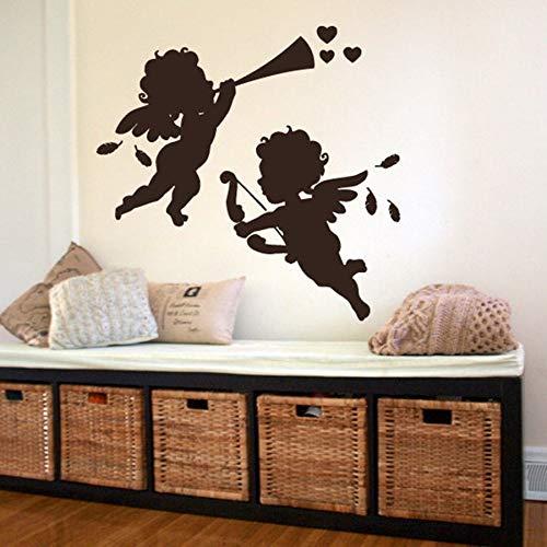 HFDHFH Ángel Lindo bebé Tatuajes de Pared habitación de bebé Dormitorio decoración de la Boda alas Pluma Lindo Mural Vinilo Pegatinas de Pared