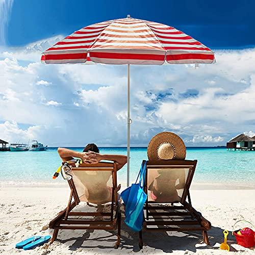 ELLENS Sombrilla de Playa portátil de 200 cm, sombrilla de jardín, sombrilla de Patio al Aire Libre, protección Solar UV 50+, sombrilla para césped/terraza/Piscina (Rayas)