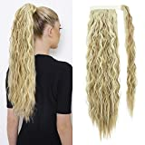EMERLILY Clip in Ponytail Extension Long Wave Pony Tail Hair Extensions 22 Inch Wrap Around Ponytails for Women Dark Blonde Mix Bleach Blonde