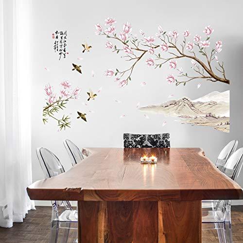 Style chinois Peach Flower Character Peinture Stickers Muraux Art Peintures Murales Salon Stickers Muraux Adhésif Décor À La Maison