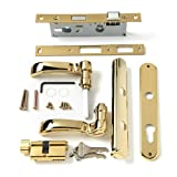 Andersen Storm Door Handle Assembly in Brass Finish Traditional Style for 1 1/4' OR 1 1/2' Thick ANDERSEN Aluminum Storm Doors Manufactured After 2004