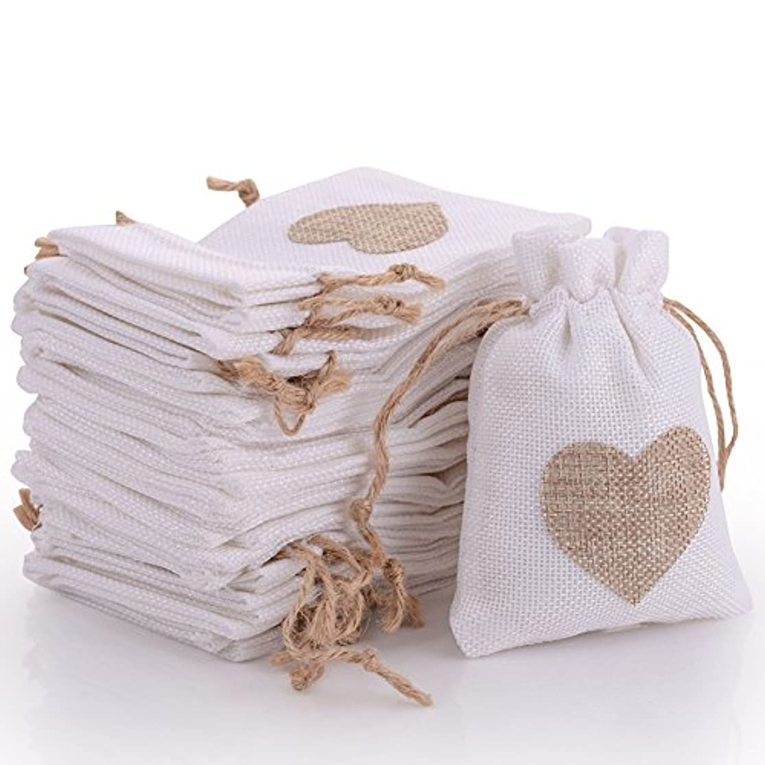 30pcs Burlap Bags Gift Pouches Heart Small Candy Jewelry Storage Package Sack for Wedding Bridal Shower Birthday Party Christmas Valentine's Day Favors DIY Craft, White 5.5x3.7 inch djdiupvc6