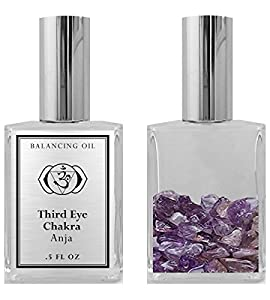 Bios Apothecary - 6th Chakra Balancing Oil - Anja Third Eye Chakra Aromatherapy - Roll On Pulse Points - Infused with Amethyst Crystals and Clary Sage Essential Oil