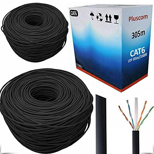 Walgreen RJ45 305m Network Cat6e Reel AWG24 Ethernet LAN UTP Gigabit Roll Bulk CCA Cable / 1000ft Networking/Black For PC Laptop Computer Modem Router