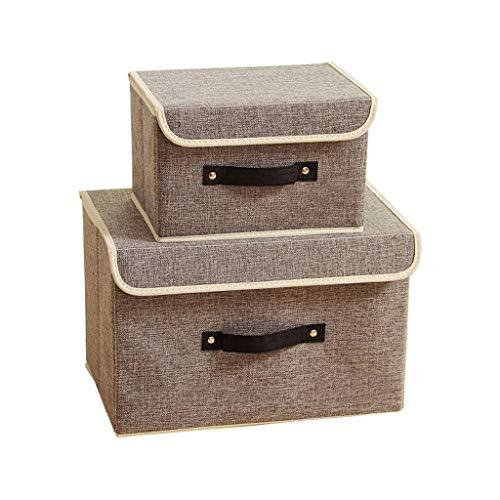 Dongyd Juego de 2 cajas de almacenamiento plegables de tela de algodón, cestas de almacenamiento con tapas y asas, contenedor de ropa para libros, juguetes, organización de lavandería (color gris)