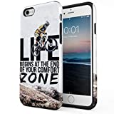 Maceste Cycling End of Comfort Zone Quote Coque Pou iPhone 6 / 6s Silicone Inner & Outer Hard PC Shell 2 Piece Hybrid Armor Case Cover