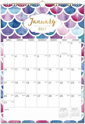 Calendar 2021-12 Monthly Wall Calendar Planner Jan 2021 - Dec 2021, 12' x 17', Twin-Wire Binding, Large Blocks with Julian Dates, Perfect for Planning and Organizing Your Home and Office