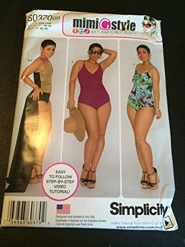 Simplicity S0370 Sewing Pattern, Misses'/Women's Swimsuits and Wrap Skirt, Size BB (20W-28W), Mimi G Style