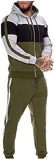 HEFASDM Men's 2-Piece Relaxed Fit Hoodie Jacket Hooded Hoodie & Pants Set