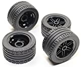 Technic 8pc Black Wheel and Tire Set (Mindstorms nxt ev3 tyre) 56145 44309