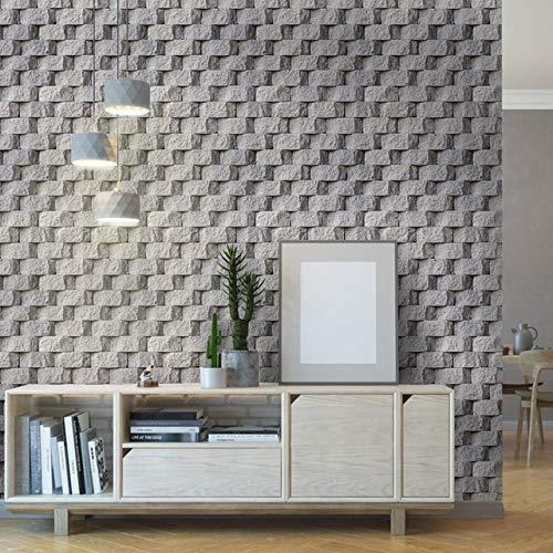 kengbi Moderne minimalistische geprägte Tapetenrolle Brick Korn Zementgrau 3D Wallpaper wasserdicht Selbstklebende PVC-Tapeten for Heimtextilien (Color : Cement Grey, Dimensions : 10mx45cm)