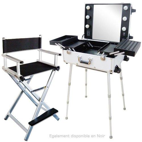 Ensemble Studio Make-up Gris Alu, Table et chaise maquilleur