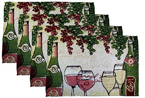 Juego de 4 manteles Individuales de Tela con diseño de Queso y Uvas, Doodles - Wine Bottles and Glasses