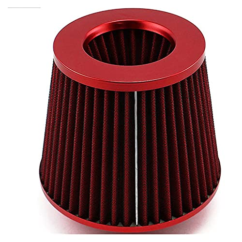 Shutters Cono Air Filter Ing Take Coche Deporte Universal 76mm Airfiltro de 6 Pulgadas Racing JDM Cono Filtro DE Aire Coche MENCIICIÓN Deporte Carreras (Color : Red)