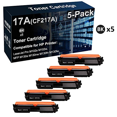 5 cartuchos de tóner compatibles LaserJet Pro M102a M102w para HP 17A CF217A (negro, alta capacidad)