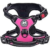 PoyPet 犬ハーネス 首輪 胴輪 小型犬 ソフト 安全 簡単着脱 咳き込み軽減 調節可能 反射材 引っ張り防止 車載功能 耐久性 老犬 歩行補助 しつけ用 散歩用 軽量 通気 ハンドル付き(XS、ピンク)