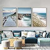 Hermosa pintura 3 piezas 40x60 cm sin marco océano mar playa puente nórdico paisaje marino natural arte de la pared pintura escandinava decoración de la sala de estar