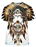 Chiclook Cool Harajuku Native American Shirt Print Unisex Clothing Swag T-Shirt, White, L