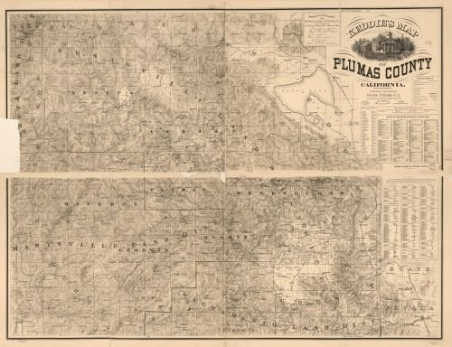 1892 Map Keddie's map of Plumas County, California - Size: 18x24 - Ready to Frame - California | Plu