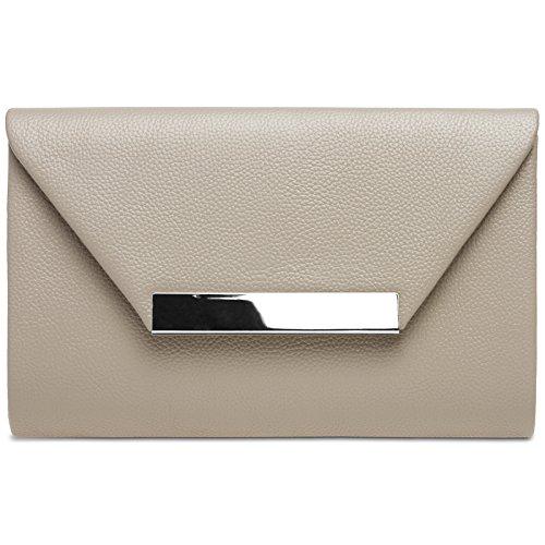 Caspar TA419 Damen XL Clutch Tasche Abendtasche, Farbe:taupe, Größe:One Size