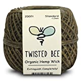 100% Organic Hemp Wick with Natural Beeswax Coating, Twisted Bee (200ft x Standard Size)