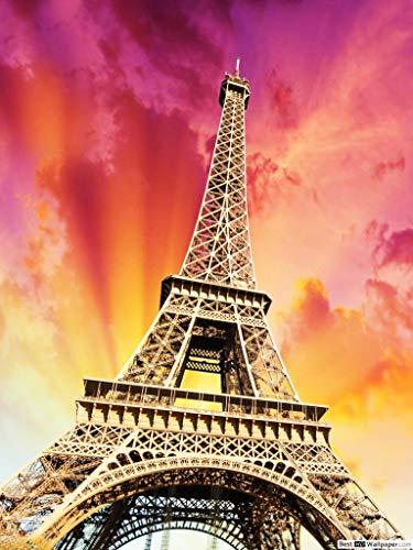 ZXXGA DIY 5D Diamond Painting by Number Kits,Torre Eiffel 30x40cm,Crystal Rhinestone Artes de Bordado Punto de Cruz Artesana Lienzo Artesanal para Decoracin de la Pared del Hogar