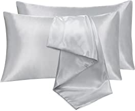 JustLINEN 2 Pack Satin Pillowcase for Hair and Skin Queen Size, Satin Pillow case with Envelope Closure Luxury Pillow Cove...