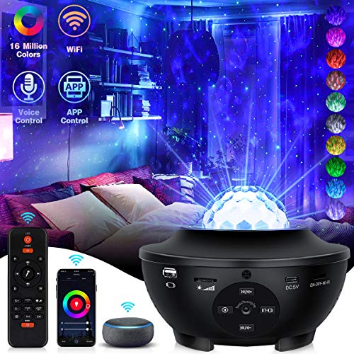 Galaxy Projector Star Projector Night Light with Bluetooth Music Speaker Remote Control Galaxy 360 Pro Projector Work with Alexa Google Home Smart Star Projector for Bedroom for Baby Kids Adult