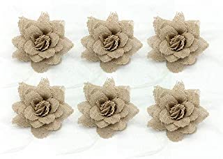 Big Natural Linen Flower Feather Brooch for Wedding Accessory 1set/6pcs