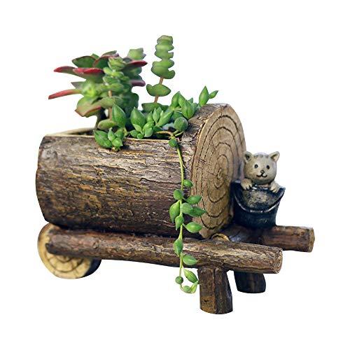 JKXWX Creatieve Hars Bloempot, Houten Paal Succulente Pot, Indoor Storage Rack Home Desktop Decoratie Ambachten