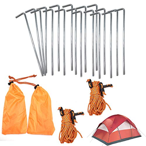 CHENKEE Tent Pegs, 18 pcs 7 Inch Metal Tent Pegs Heavy Duty Ground Camping Pegs with 8 pcs Pull Ropes and 2 pcs Storage Bag Ideal for Hiking Securing Traveling Beach and Outdoor Camping