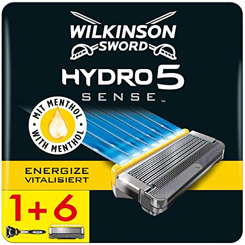 Wilkinson Sword Hydro 5 Sense Herrenrasierer und Rasierklingen (Rasierer + 6 Ersatzklingen, briefkastenfähig)