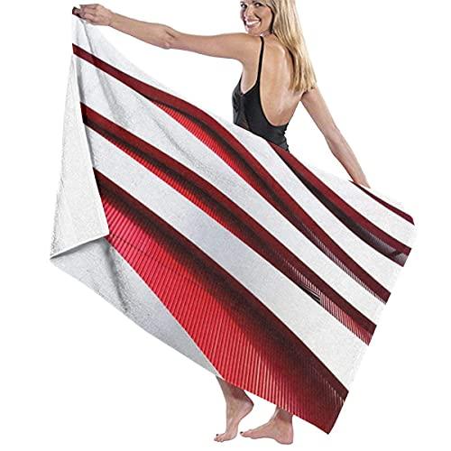 Toallas de Playa Marco de Metal Blanco y Rojo Toalla de Piscina Esterilla de Yoga Seque Rápidamente Absorbente Prevención de Arena para Viaje 80*130 cm