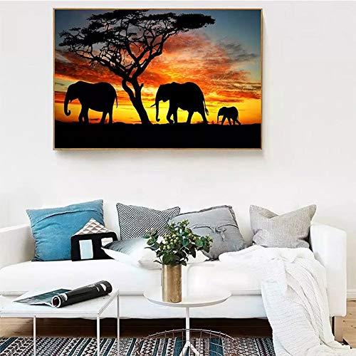 wZUN Elefante Arte de la Pared Lienzo Pintura al óleo Impresión en Lienzo Paisaje Africano Imagen de Pared de Oficina 50x70cm