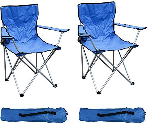 Haberkorn-Garten 2-er Set Anglersessel Campingstuhl Faltstuhl Angelstuhl Anglerstuhl Regiestuhl BLAU mit Getränkehalter und Tasche belastbar bis 120kg